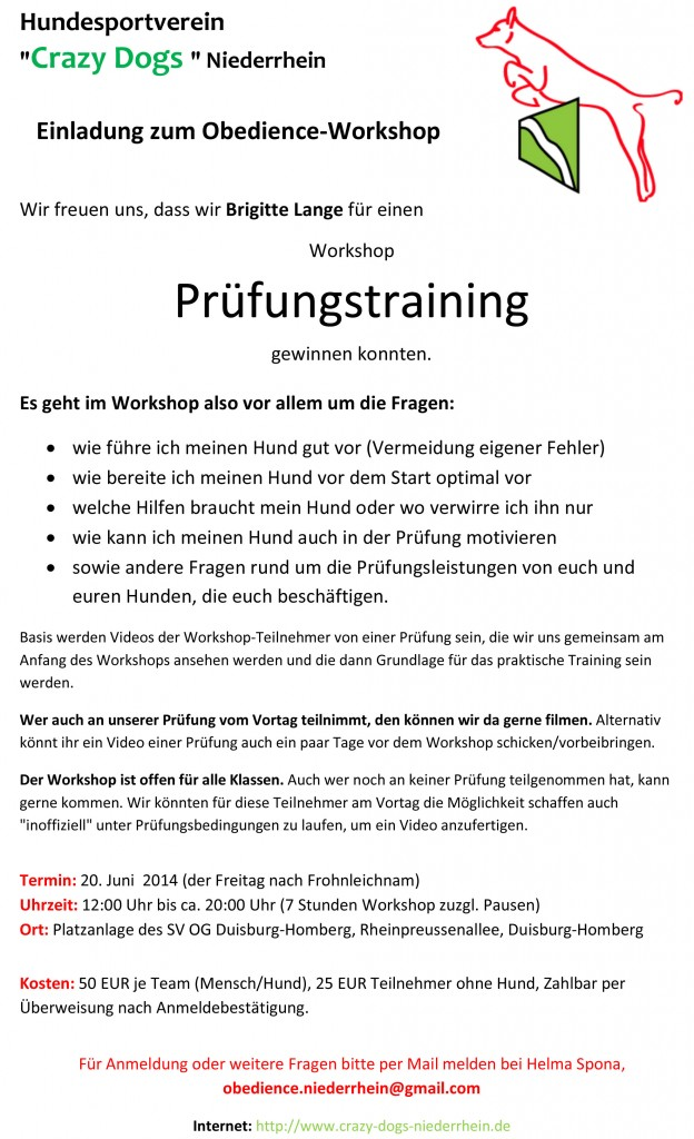 Einladung zum Obedience-Workshop 2014