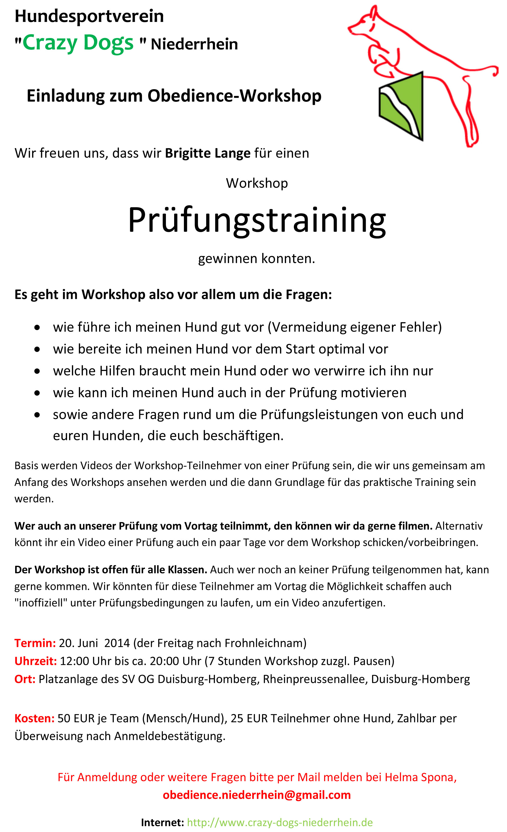 einladung zum obedience workshop pr fungstraining mit brigitte lange hundesportverein crazy. Black Bedroom Furniture Sets. Home Design Ideas