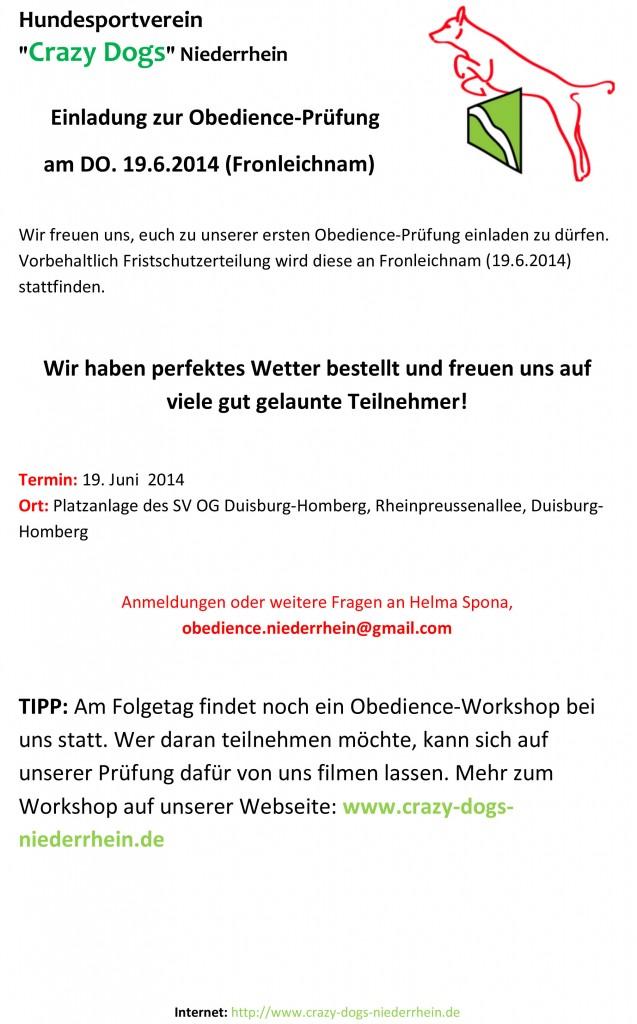 Einladung zur Obedience-Pruefung 2014